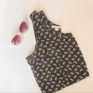 Pleione Black and White Elephant Tank Top